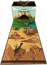 Faltbare Spielzeugkiste mit Roll Out Spielmatte für Kinder mit Spielzeug - Dinosaurier
