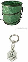 Faltbarer Gartenabfallsack, 450x460 mm, Rasensack, Laubsack, Behälter, Abfallsack mit einem Anhänger Herz Jesu 2,5cm