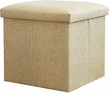Faltbarer Sitzhocker stabiler Sitzwürfel Aufbewahrungsbox 38x38x38cm, Beige