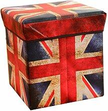 Faltbarer Sitzhocker stabiler Sitzwürfel mit trendigen Motiven Fußablage Sitzwürfel Aufbewahrungsbox 30x30x30cm, UK
