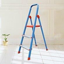 Falten drei Schritte Ladder Hocker rutschfeste 3-Stufen-Haushalt Pavillon Pedale Fischgräten Dual-Verwendung Indoor (Farbe : Blau)