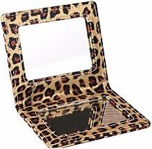 Falten Kosmetikspiegel Spiegelportable Spiegel Desktop schwarzpu[Leder Spiegel] Spiegel mit großen Spiegeln-X