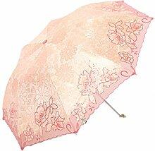 Falten Sonnenschirm Sonnenschutz UV-Schutz Sonnenschirme Stickerei Ultraleicht Regenschirm,09