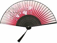 Faltender Ventilator für Frauen Chinesischer / japanischer Silk Handheld Faltender Ventilator-Handfä