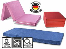 Faltmatratze / Klappmatratze DANIELA - Made in Germany - mit abnehmbar & waschbaren Bezug - als Gästebett / Gästematratze / Klappbett einsetzbar (grau)