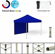 Faltpavillon Faltzelt Pavillon Klappzelt Basic 3 x 3 m, blau (1 Zeltwand) - weitere Farben und Größen erhältlich