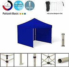 Faltpavillon Faltzelt Pavillon Klappzelt Basic 3 x 3 m, blau (3 Zeltwände) - weitere Farben und Größen lieferbar