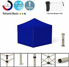 Faltpavillon Faltzelt Pavillon Klappzelt Basic 3 x 3 m, blau (4 volle Zeltwände) - weitere Farben und Größen lieferbar