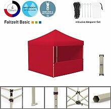 Faltpavillon Faltzelt Pavillon Klappzelt Basic 3 x 3 m, rot (3 volle Zeltwände / 1 halbhohe Wand) - weitere Farben und Größen lieferbar