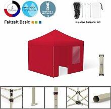 Faltpavillon Faltzelt Pavillon Klappzelt Basic 3 x 3 m, rot (4 Zeltwände - davon 1 Wand mit Tür) - weitere Farben und Größen lieferbar