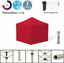 Faltpavillon Faltzelt Pavillon Klappzelt Basic 3 x 3 m, rot (4 volle Zeltwände) - weitere Farben und Größen lieferbar