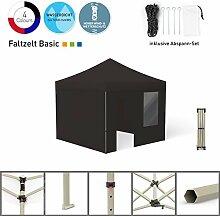 Faltpavillon Faltzelt Pavillon Klappzelt Basic 3 x 3 m, schwarz (4 Zeltwände - davon 1 Wand mit Tür) - weitere Farben und Größen lieferbar