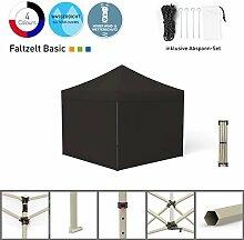 Faltpavillon Faltzelt Pavillon Klappzelt Basic 3 x 3 m, schwarz (4 volle Zeltwände) - weitere Farben und Größen lieferbar