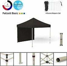 Faltpavillon Faltzelt Pavillon Klappzelt Basic 3 x 3 m, schwarz (1 Zeltwand) - weitere Farben und Größen erhältlich