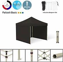 Faltpavillon Faltzelt Pavillon Klappzelt Basic 3 x 3 m, schwarz (3 Zeltwände) - weitere Farben und Größen lieferbar