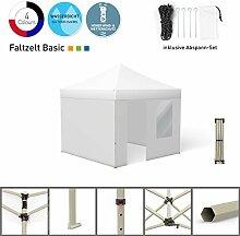 Faltpavillon Faltzelt Pavillon Klappzelt Basic 3 x 3 m, weiß (4 Zeltwände - davon 1 Wand mit Tür) - weitere Farben und Größen lieferbar