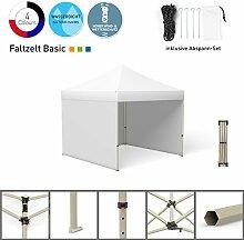 Faltpavillon Faltzelt Pavillon Klappzelt Basic 3 x 3 m, weiß (3 Zeltwände) - weitere Farben und Größen lieferbar