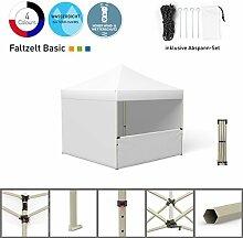 Faltpavillon Faltzelt Pavillon Klappzelt Basic 3 x 3 m, weiß (3 volle Zeltwände / 1 halbhohe Wand) - weitere Farben und Größen lieferbar
