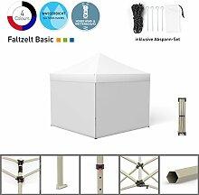 Faltpavillon Faltzelt Pavillon Klappzelt Basic 3 x 3 m, weiß (4 volle Zeltwände) - weitere Farben und Größen lieferbar