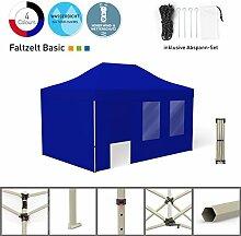 Faltpavillon Faltzelt Pavillon Klappzelt Basic 3 x 4,5 m, blau (4 Zeltwände - davon 1 Wand mit Tür) - weitere Farben und Größen lieferbar