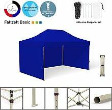 Faltpavillon Faltzelt Pavillon Klappzelt Basic 3 x 4,5 m, blau (3 Zeltwände) - weitere Farben und Größen lieferbar