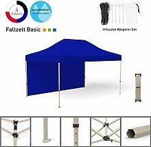Faltpavillon Faltzelt Pavillon Klappzelt Basic 3 x 4,5 m, blau (1 Zeltwand) - weitere Farben und Größen erhältlich