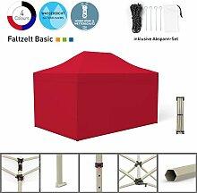 Faltpavillon Faltzelt Pavillon Klappzelt Basic 3 x 4,5 m, rot (4 volle Zeltwände) - weitere Farben und Größen lieferbar