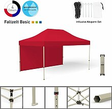 Faltpavillon Faltzelt Pavillon Klappzelt Basic 3 x 4,5 m, rot (1 Zeltwand) - weitere Farben und Größen erhältlich