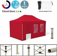 Faltpavillon Faltzelt Pavillon Klappzelt Basic 3 x 4,5 m, rot (4 Zeltwände - davon 1 Wand mit Tür) - weitere Farben und Größen lieferbar
