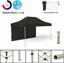 Faltpavillon Faltzelt Pavillon Klappzelt Basic 3 x 4,5 m, schwarz (1 Zeltwand) - weitere Farben und Größen erhältlich