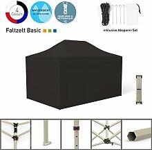 Faltpavillon Faltzelt Pavillon Klappzelt Basic 3 x 4,5 m, schwarz (4 volle Zeltwände) - weitere Farben und Größen lieferbar
