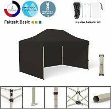 Faltpavillon Faltzelt Pavillon Klappzelt Basic 3 x 4,5 m, schwarz (3 Zeltwände) - weitere Farben und Größen lieferbar