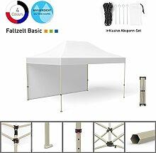 Faltpavillon Faltzelt Pavillon Klappzelt Basic 3 x 4,5 m, weiß (1 Zeltwand) - weitere Farben und Größen erhältlich
