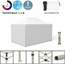 Faltpavillon Faltzelt Pavillon Klappzelt Basic 3 x 4,5 m, weiß (4 volle Zeltwände) - weitere Farben und Größen lieferbar