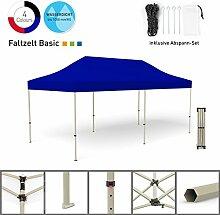 Faltpavillon Faltzelt Pavillon Klappzelt Basic 3 x 6 m, blau