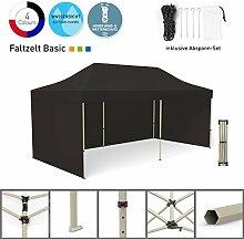 Faltpavillon Faltzelt Pavillon Klappzelt Basic 3 x 6 m, schwarz (3 Zeltwände) - weitere Farben und Größen lieferbar