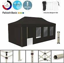 Faltpavillon Faltzelt Pavillon Klappzelt Basic 3 x 6 m, schwarz (4 Zeltwände - davon 1 Wand mit Tür) - weitere Farben und Größen lieferbar