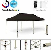 Faltpavillon Faltzelt Pavillon Klappzelt Basic 3 x 6 m, schwarz