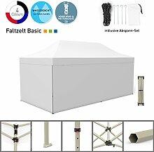 Faltpavillon Faltzelt Pavillon Klappzelt Basic 3 x 6 m, weiß (4 volle Zeltwände) - weitere Farben und Größen lieferbar