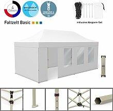 Faltpavillon Faltzelt Pavillon Klappzelt Basic 3 x 6 m, weiß (4 Zeltwände - davon 1 Wand mit Tür) - weitere Farben und Größen lieferbar