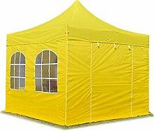 Faltpavillon Pavillon 3x3 m mit Fenstern edles Polyester Wasserdicht PROFIZELT24 Partyzelt gelb