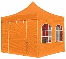 Faltpavillon Pavillon 3x3 m mit Fenstern edles Polyester Wasserdicht PROFIZELT24 Partyzelt orange