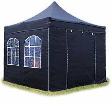 Faltpavillon Pavillon 3x3m mit Fenstern edles Polyester Wasserdicht PROFIZELT24 Partyzelt schwarz