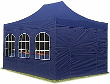 Faltpavillon Pavillon 3x4,5 m mit Fenstern edles Polyester Wasserdicht PROFIZELT24 Partyzelt dunkelblau