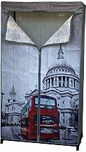 Faltschrank London 87x45xH156cm mit Kleiderstange Campingschrank Stoffschrank Kleiderschrank faltbar