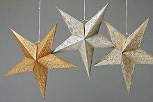 Faltstern - Sternlampe 5er groß silber gold