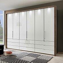Falttüren Kleiderschrank in Weiß Braun LED