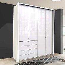 Falttüren Kleiderschrank in Weiß Glas