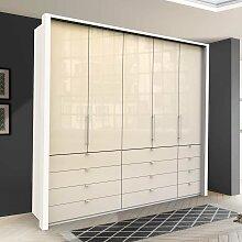 Falttüren Schlafzimmerschrank in Creme Weiß Glas