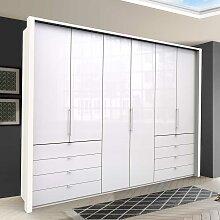 Falttüren Schlafzimmerschrank in Weiß Glas